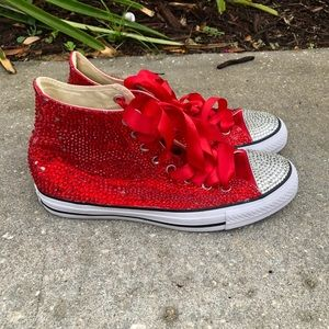 Bedazzled red converse
